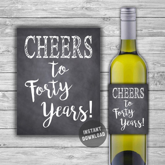 printable 40th birthday wine label chalkboard style 40th