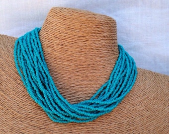 Teal beaded necklace, teal seed bead multi-strand necklace, teal bridesmaids, teal necklace, teal multi-strand, teal bridal party, handmade