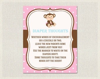 Diaper Thoughts | Monkey Baby Shower Games Pink Blue Brown | Advice for Parents to be  Girl Baby Shower BS-132
