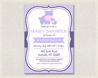 Baby shower invitation purple hippo gender neutral invite boy girl printable custom personalized baby shower girl baby hippo BS-152