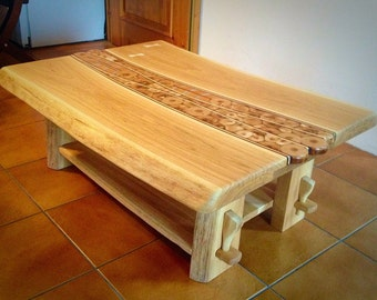 Unique solid  wood handmade oak coffee table