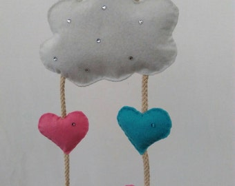 Hanging cloud and heart mobile, nursery or bedroom decor