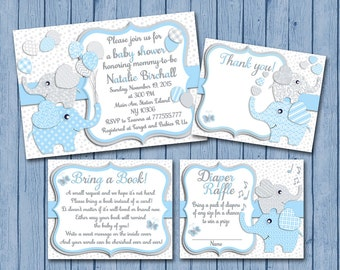 Light Blue grey Elephant baby shower printable invitation set baby boy digital invite with inserts thank you bring a book Diaper Raffle card