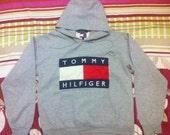 Vintage tommy hilfiger hoodie gray,Size M