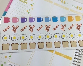 NEW! Breakfast Planner Stickers with Multicolored Coffee Mugs, Bacon, Eggs, and Toast!