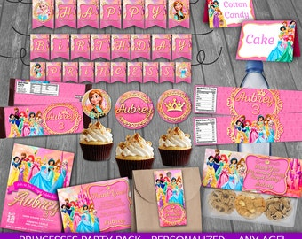 Princess Party Package - PERSONALIZED - Disney Princess Birthday Party - Party decoration - cards tags wrappers signs labels toppers