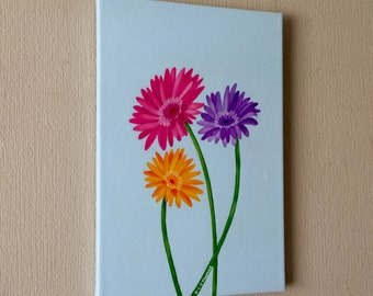 Original water colour and acrylic painting on gerberas on canvas