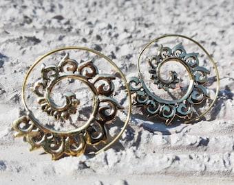 """Brass """"Lace"""" earrings"""