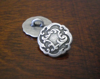 "Metal Buttons with Shank Viennese Ornate Victorian Look DIY Jewelry Making Supplies Beading Supplies Unique Closure  5/8"" (15mm) 3 pieces"