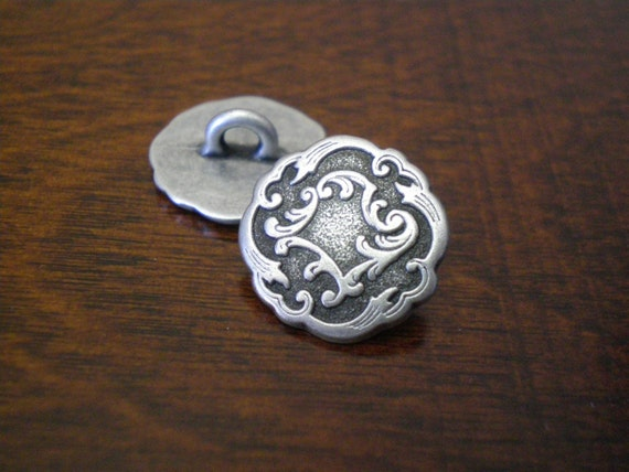 Metal buttons with shank viennese ornate victorian look for Buttons with shanks for jewelry
