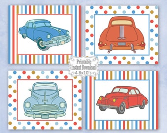 Printable Antique Vintage Retro Old Cars Nursery Wall Art Decor Baby Child Kids Little Boy ~ DIY Instant Download ~ 4 8x10 Prints