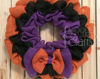 SALE Halloween Burlap Wreath - Burlap Halloween Wreath - Halloween Decor - Halloween Welcome Wreath - Fall Wreath - Purple, Orange, Black
