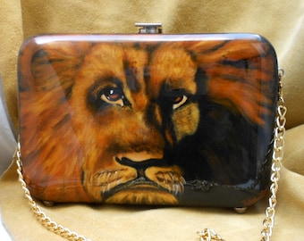 Amazing Hand Painted Wooden Purse of Lion Signed by Artist