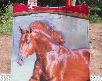 Recycled Thoroughbred Horse Feedsack Market Tote Bag