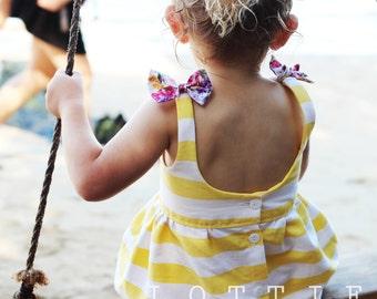 Sunshine Dress - summer dress - toddler dress - girls dress - holiday dress - yellow dress - yellow and white dress - lottie clothing