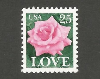 10 LOVE Pink Rose Vintage Postage Stamps, 25 Cents, Unused # 2378