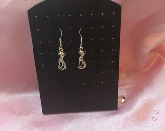 cat lovers solid silver earrings with a silver tone charm of your favourite animal