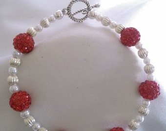 Red Disco Ball/ Pearl Style Bracelet
