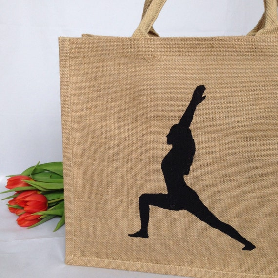 Yoga Tote Bag Large Hand Painted Reuseable Jute Carrier