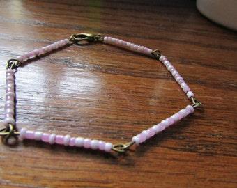 SALE Pink bracelet , Beaded  bracelet , Bronze bracelet