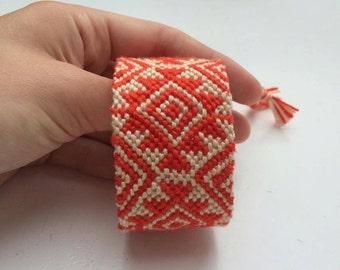 Handwoven Frienship bracelet handmade Red and Sand colours