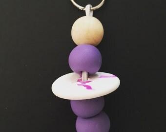 Purple polymer clay keychain