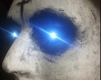 The Purge Handmade & Hand Painted Halloween Accessory Mask Blue LED Lighted Eyes with On/Off Switch