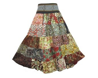 Boho Hippie Cotton Patchwork 5-Tier Broomstick Skirt  (M0699)