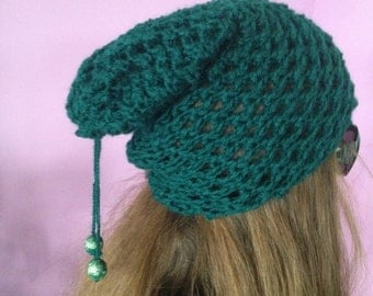 Hat decorated with beads, handmade, knitting, laced