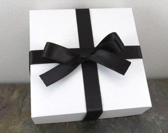 Gift Boxes, Set of 3, White with Satin Ribbon Embellishment