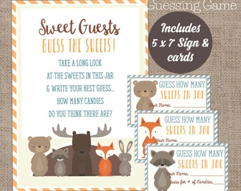 Woodland Baby Shower candy guessing game