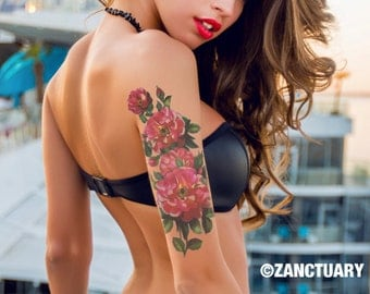 Floral Temporary Tattoo Sleeve Flower Half Sleeve Tattoo Begonia Fake Tattoo Sleeve Upper Arm Tattoo Faux Tatouage Temporaire ZANCTUARY