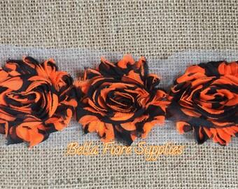 Orange Black Shabby Chiffon Rose Trim-2.5 inch- Neon Orange- Shabby Chiffon Flowers- Halloween Shabby Trim- Wholesale-DIY Headband Supplies