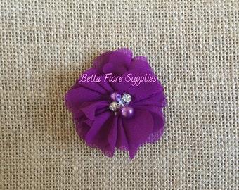 Purple Mini Chiffon Flowers with Pearl Rhinestone Center, Wholesale Flowers, DIY Headband