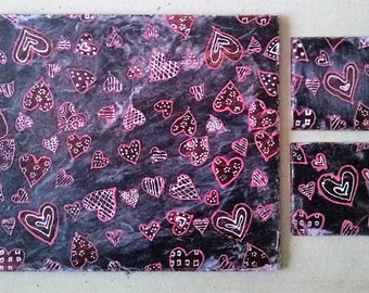 Set of 4 Valentines Natural Slate Placemats and Coasters