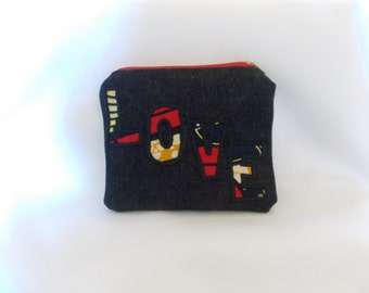 Denim Purse with applique detail - handmade