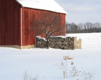 Winter Soltice, Cobblestone Barn in Winter, Rochester New York