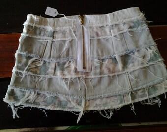 Girls Denim Skirt White Floral Pale Blue 006
