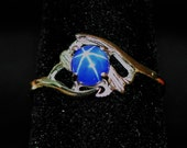 Vintage Cabochon Full 6-Star Natural Blue Sapphire & 10K White Gold Ring - Size 5.25