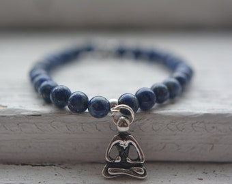 Sodalite beads bracelet, semi precious stones, blue, yogi charm, zen and yoga syle, elastic, tailored