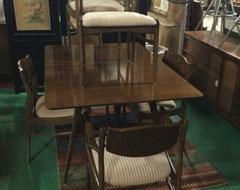 SOLD: Amazing Set of MidCentury Dining Table with Six Chairs Three 12 inches Leaves in Walnut