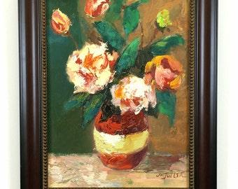 Framed Original Oil Painting Art on Canvas Impressionism Still Life