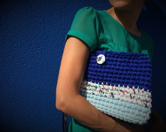 Handmade crocheted bag. Shoulder bag. Cotton yarn bag. Clutch. Purse. Mini bag.