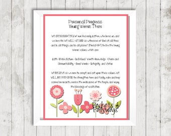 Personal Progress Young Women Theme-16x20-11x14-8x10-Pink flowers