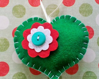 Felt Heart Christmas Ornament, Green Heart Decoration, Christmas Tree Decoration