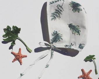 Palm print bonnet, baby bonnet, sun bonnet, baby girl bonnets.