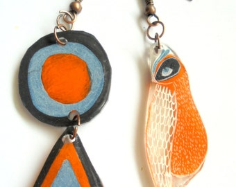 Colorful asymetrical bird earrings