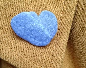 Pebble heart brooch