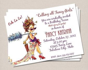 Fancy Nancy Inspired Birthday Invitation - Dressup Birthday Invitation - Girl Birthday Invitation - Printable Birthday Invitation