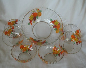 Beautuful Vintage French Glass Serving Bowl Six Fruit Bowls Bright Orange Yellow Fruits Design